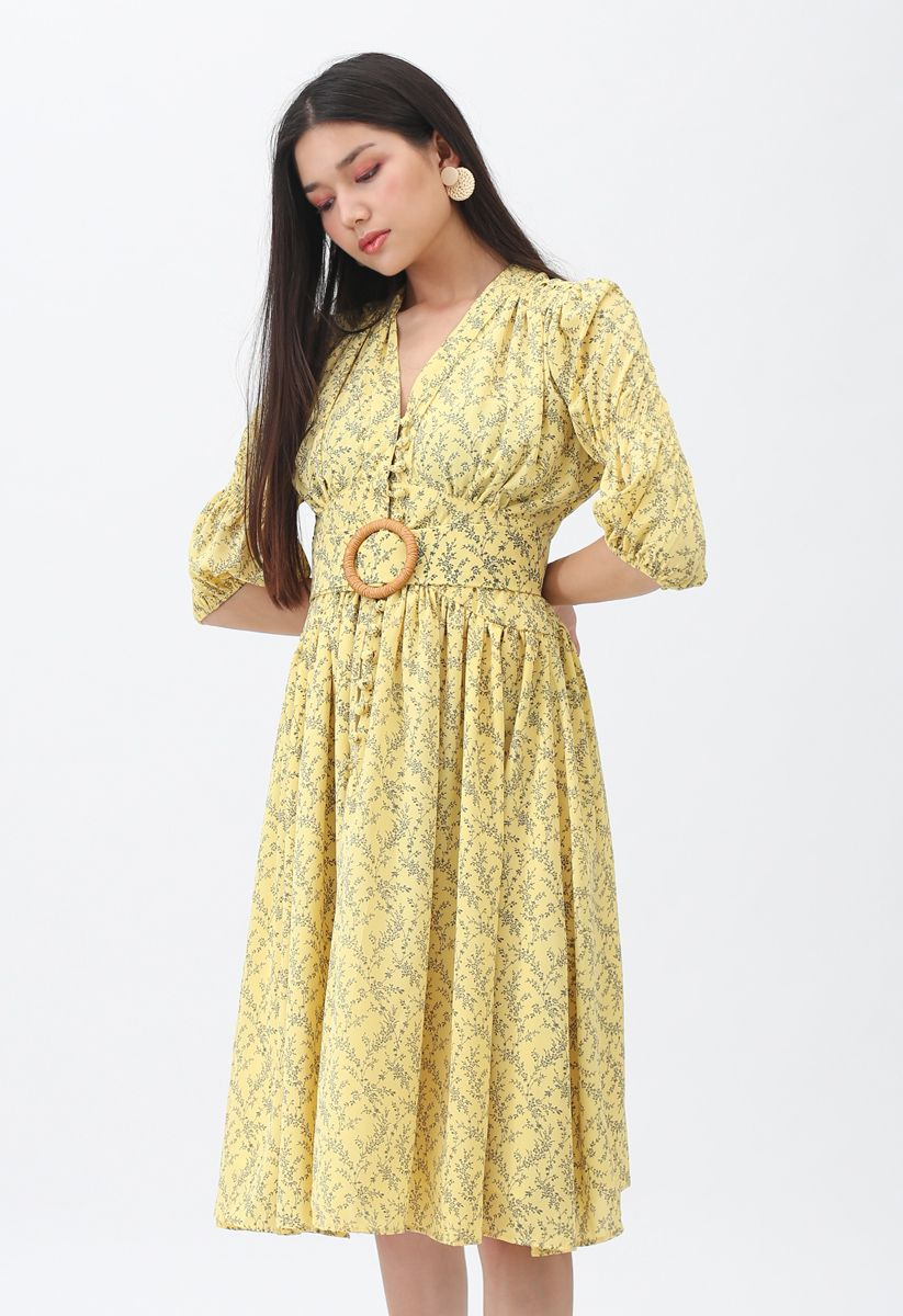 Floret Flowers Belted Midi Dress in Yellow