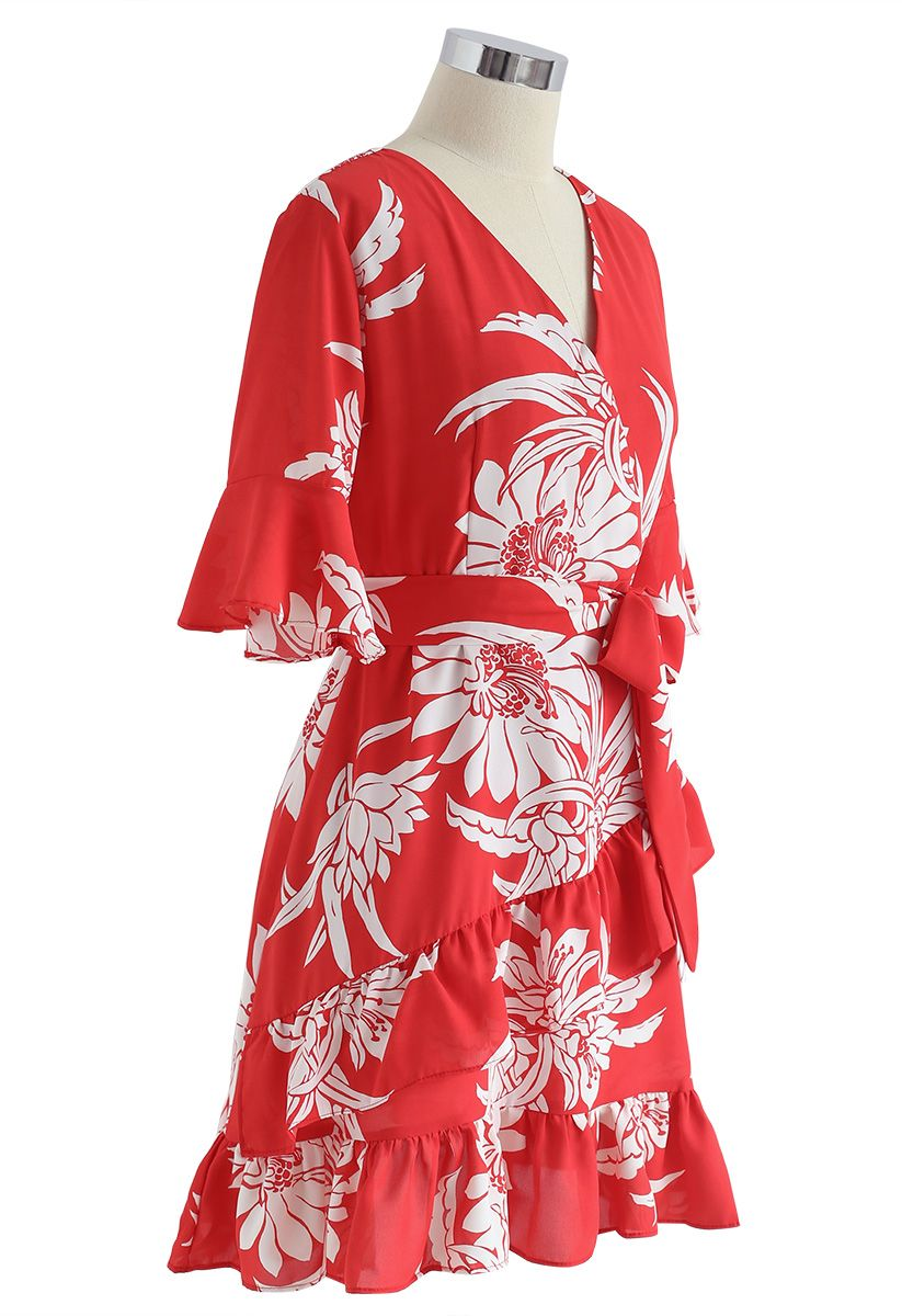 Summer Red Floral Print Ruffle Dress