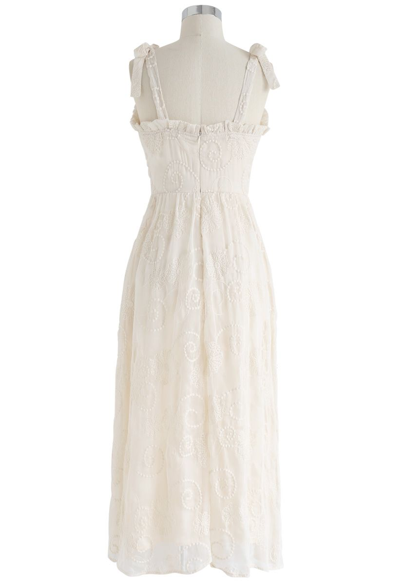 Sensational Embroidered Mesh Cami Dress in Cream