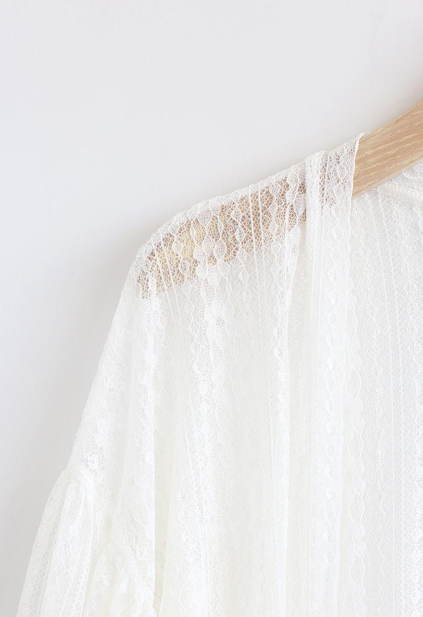 Somewhere to Love Lace Longline Kimono in White