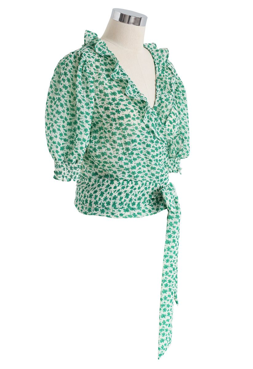 Tie Up a Bowknot Floret Wrapped Top in Green