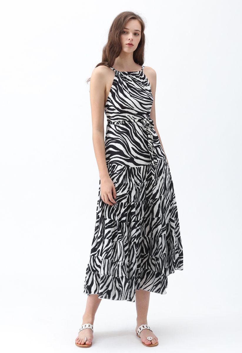 Zebra-Stripe Open Back Maxi Dress in White