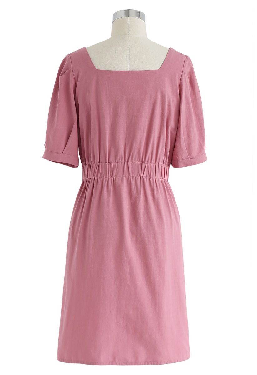 Almost Weekend Button Down Dress in Pink