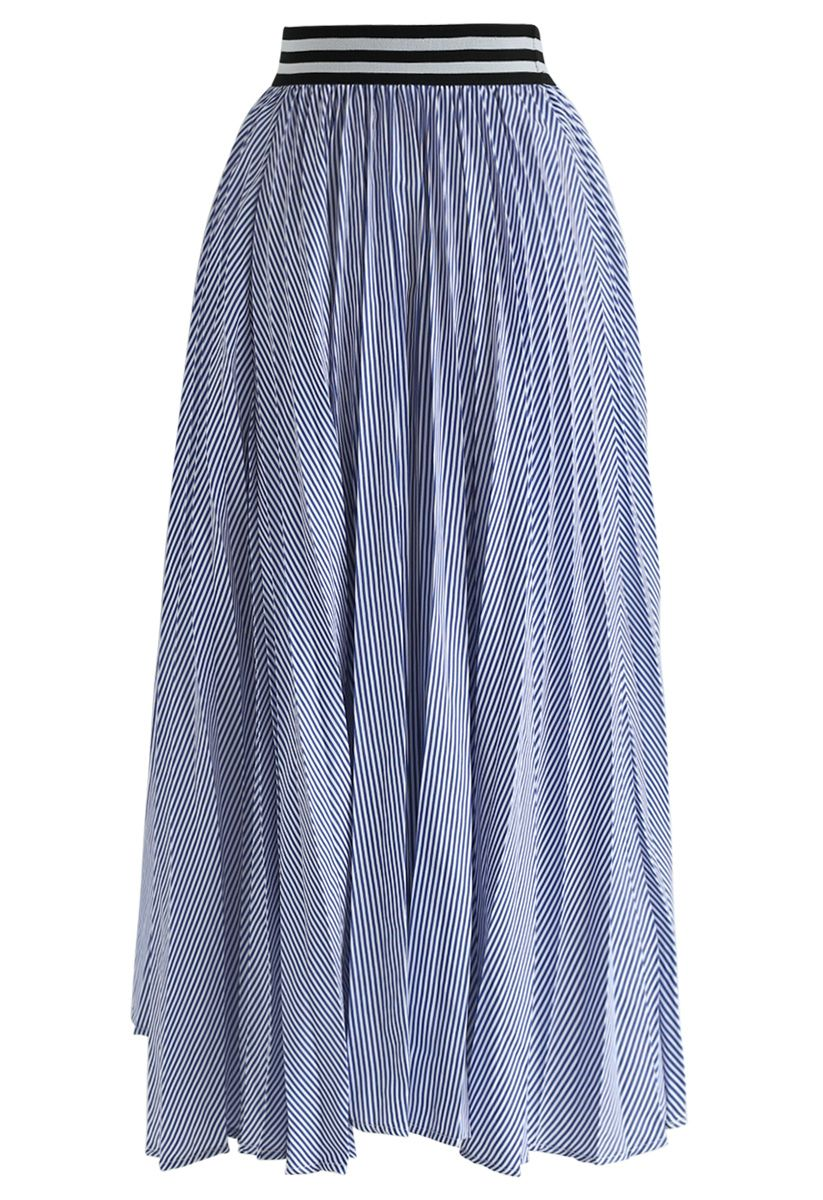 Did You Hear That Stripes Pleated Skirt in Blue