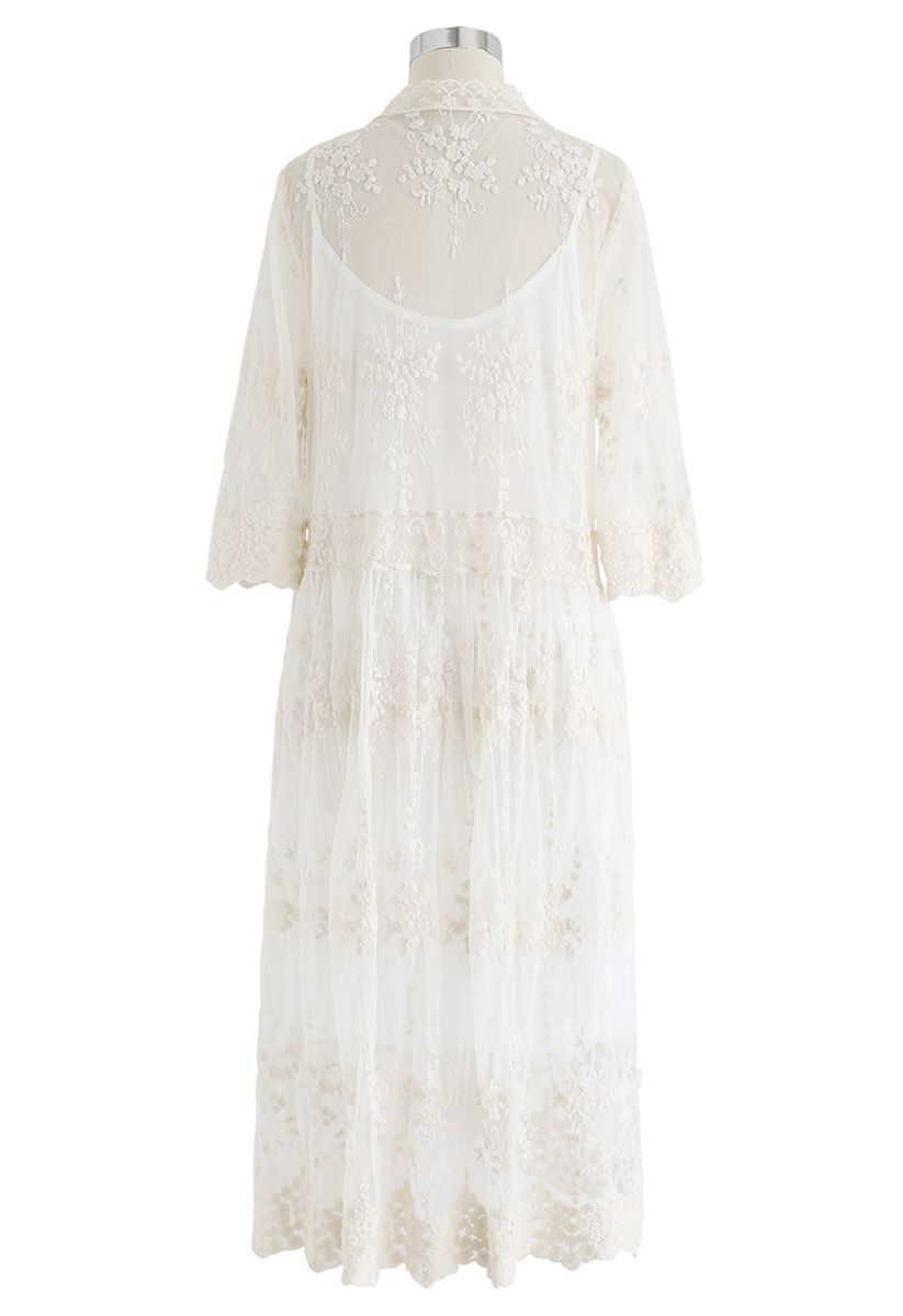 Sun Elusion Embroidered Mesh Longline Kimono