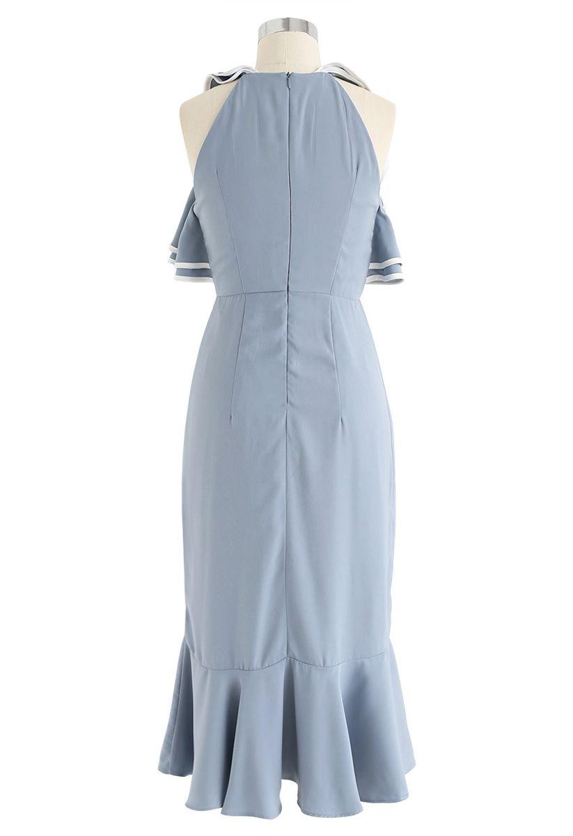 Retro Fancy Asymmetric Dress in Dusty Blue
