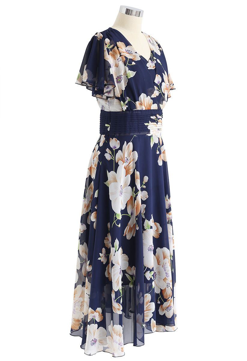 Sweet Surrender Floral Chiffon Dress in Navy