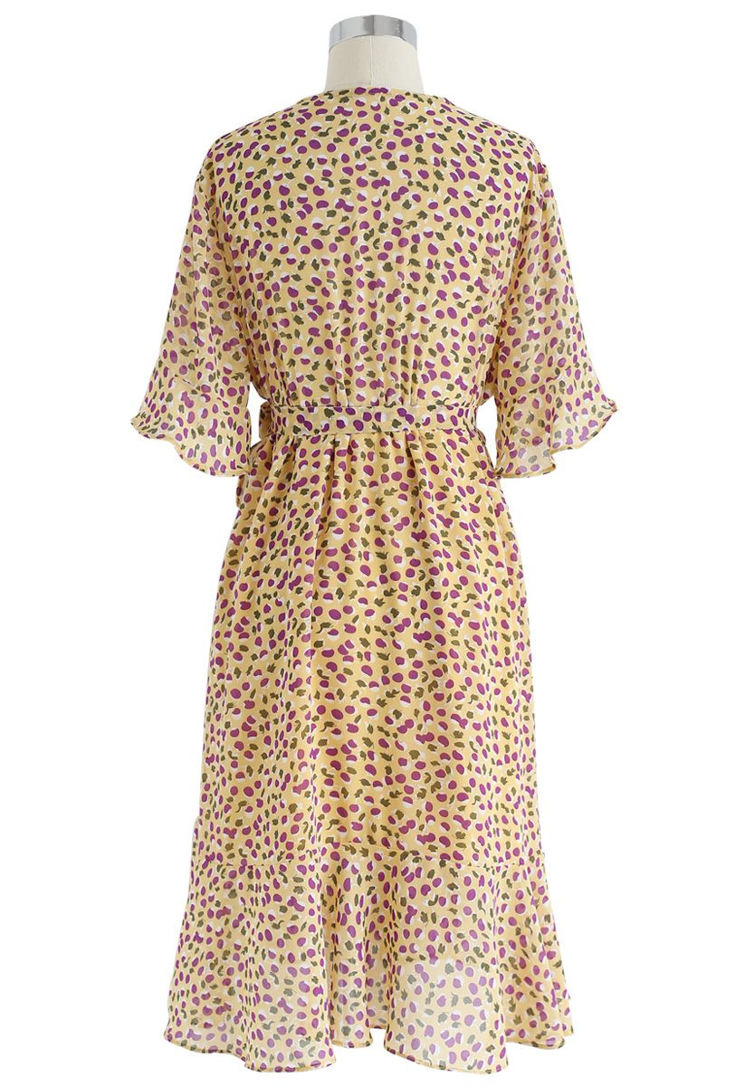 Cheerful Cherry Printed Ruffle Wrap Dress in Yellow