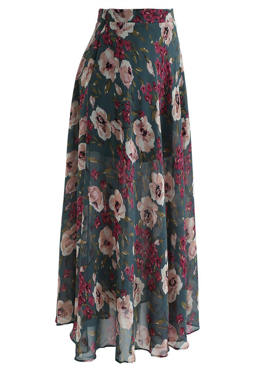 Blossom Age Floral Chiffon Maxi Skirt in Dark Green