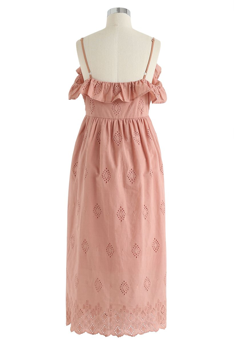 Lovely Day Embroidered Cami Dress in Coral