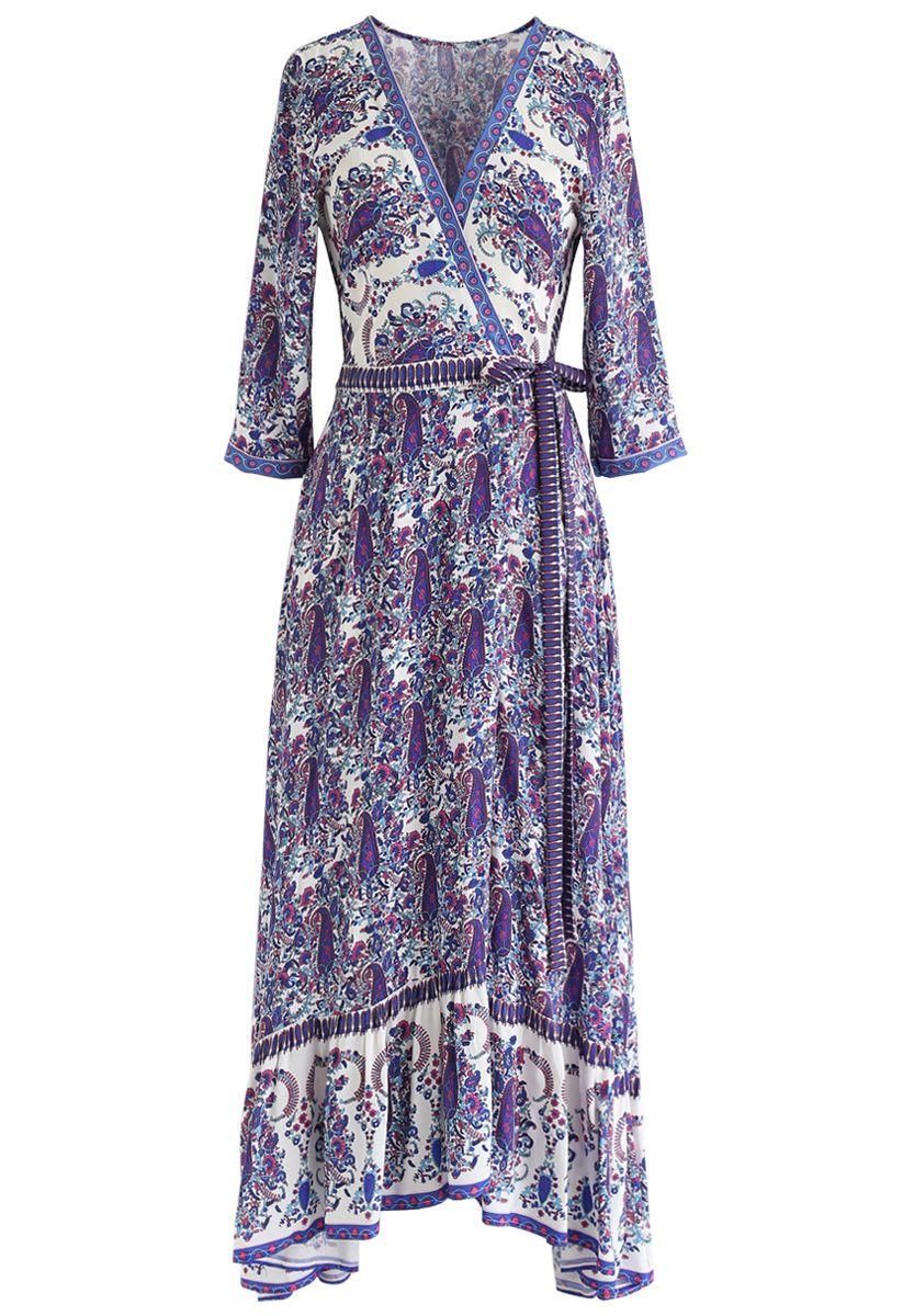 Paisley World Boho Wrap Maxi Dress