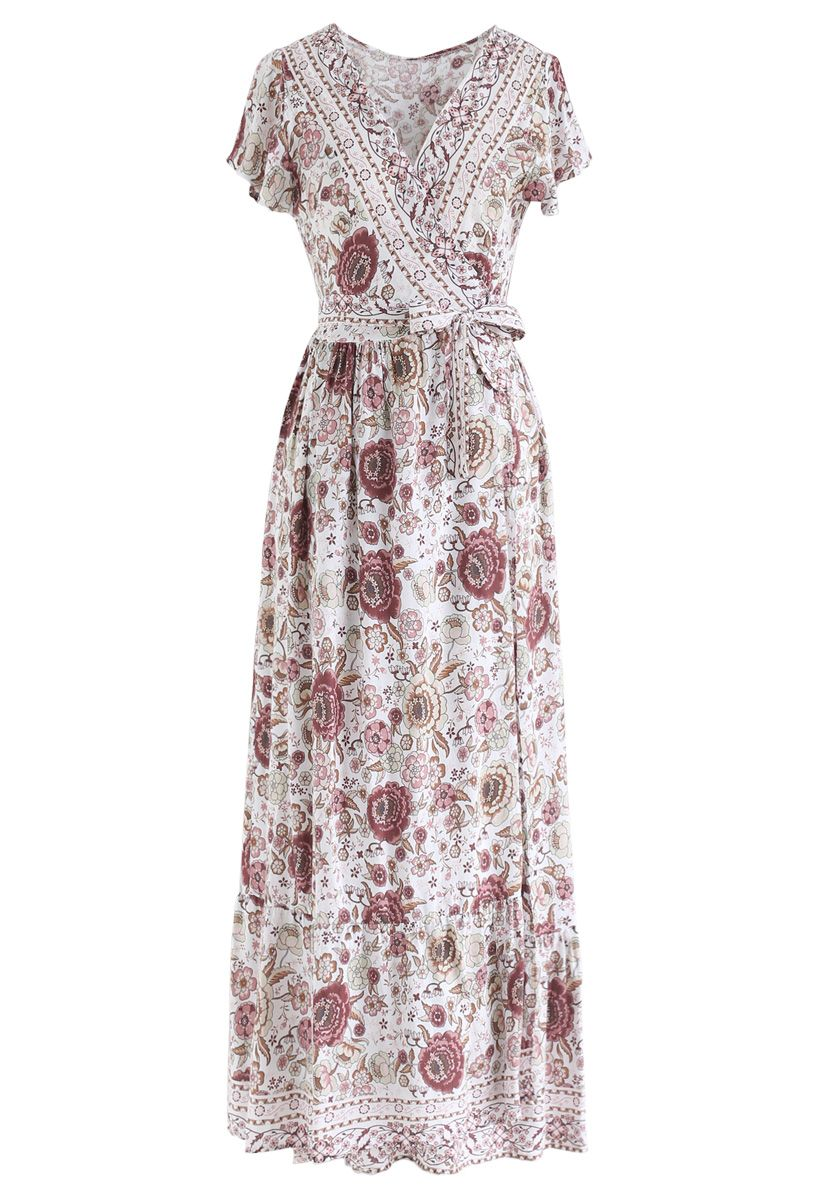 Boho Vibrant Floral Wrap Maxi Dress in Ivory