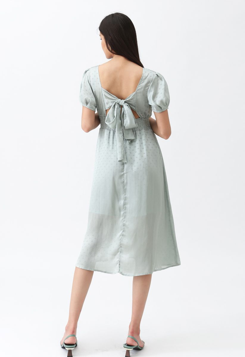 Lovely Wishes Open-Back Dots Midi Dress in Mint