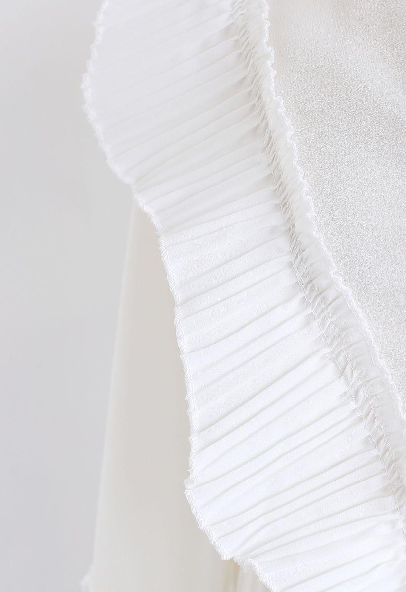 Love Song Pleats Ruffle Midi Dress in White