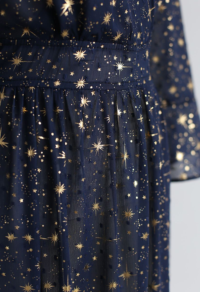 Glory of Love Star Printed Maxi Dress in Navy