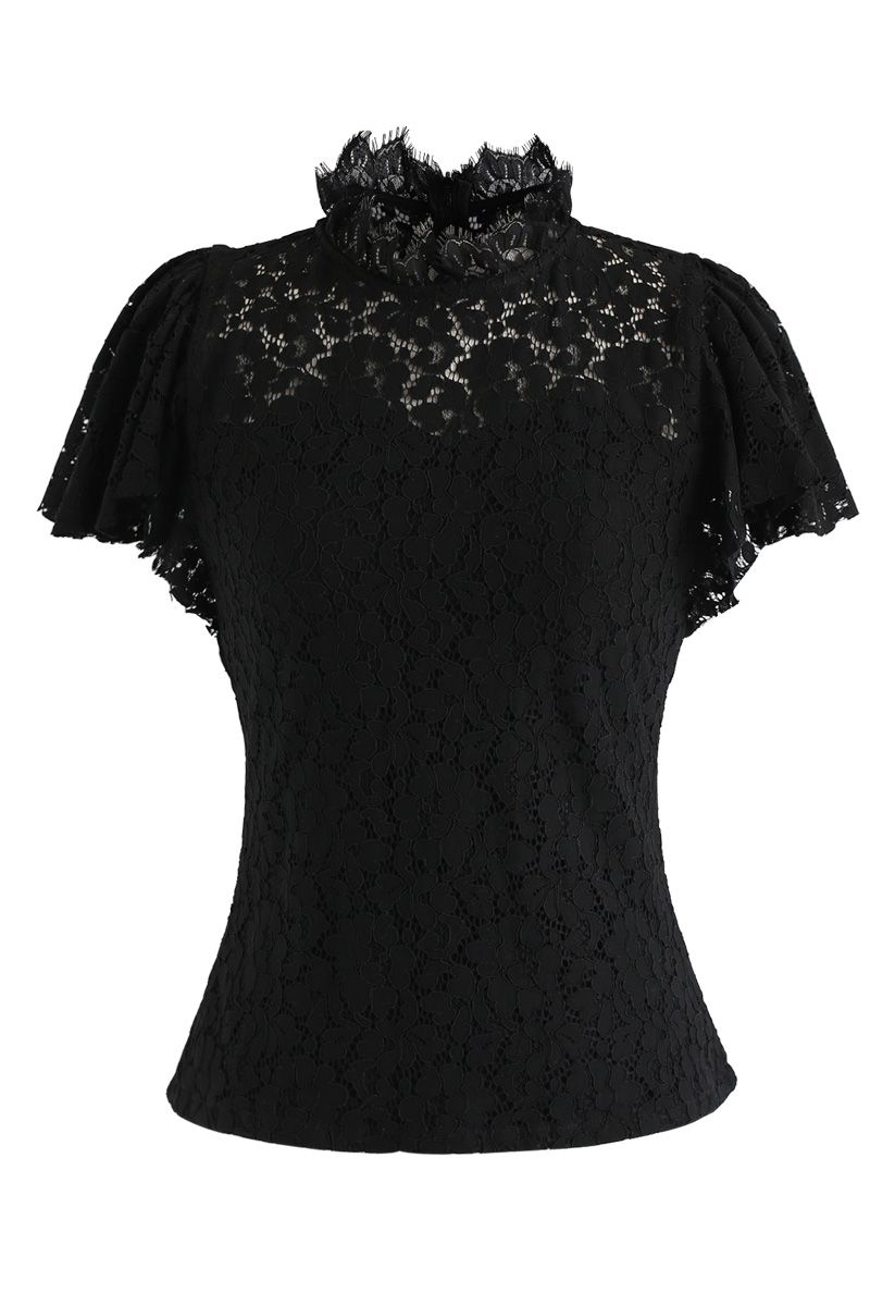 Fall in Love Lace Top in Black