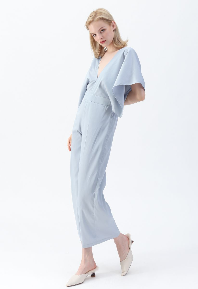 Summer Forever Satin Jumpsuit in Blue