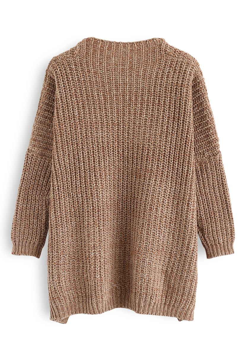 In My World V-Neck Knit Sweater in Caramel