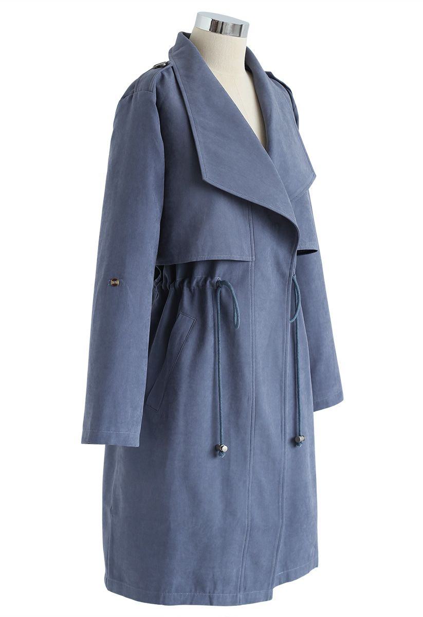 Drawstring Waist Longline Trench Coat in Dusty Blue