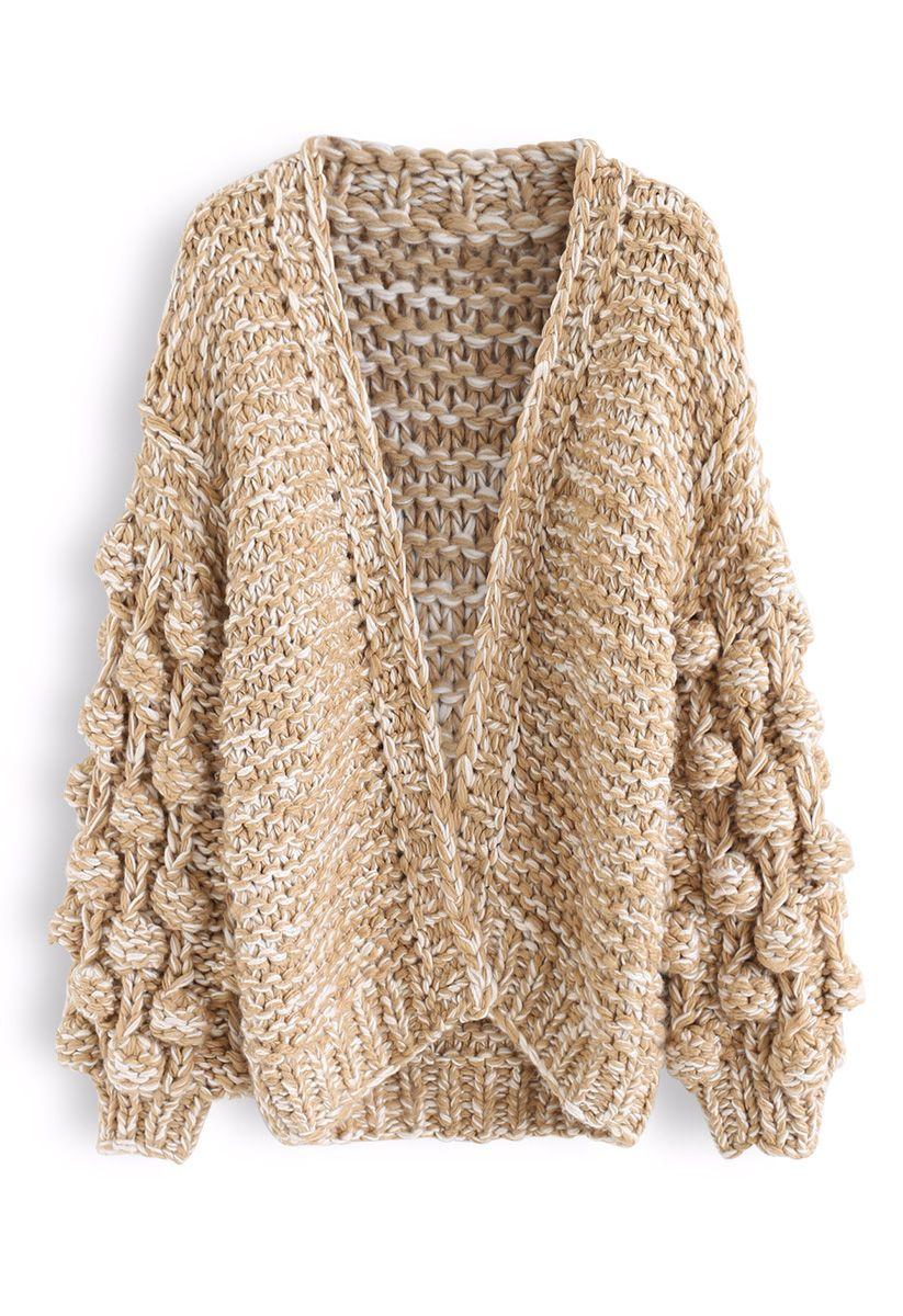 Cuteness on Sleeves Chunky Knit Longline Cardigan in Camel