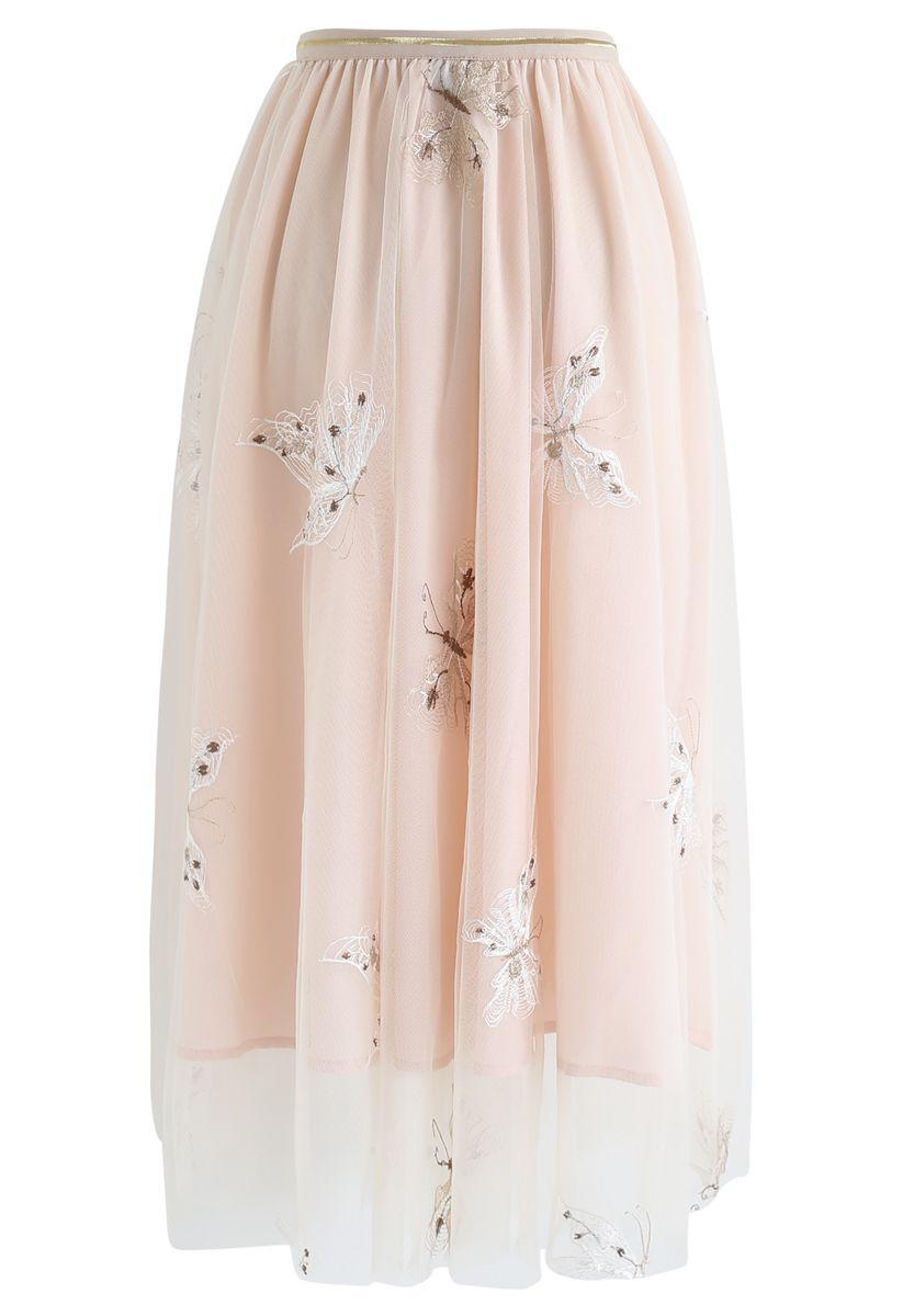 Butterfly Embroidered Double-Layered Mesh Midi Skirt