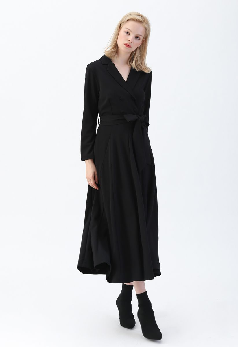 Self-Tied Bowknot Double-Breasted Maxi Dress in Black