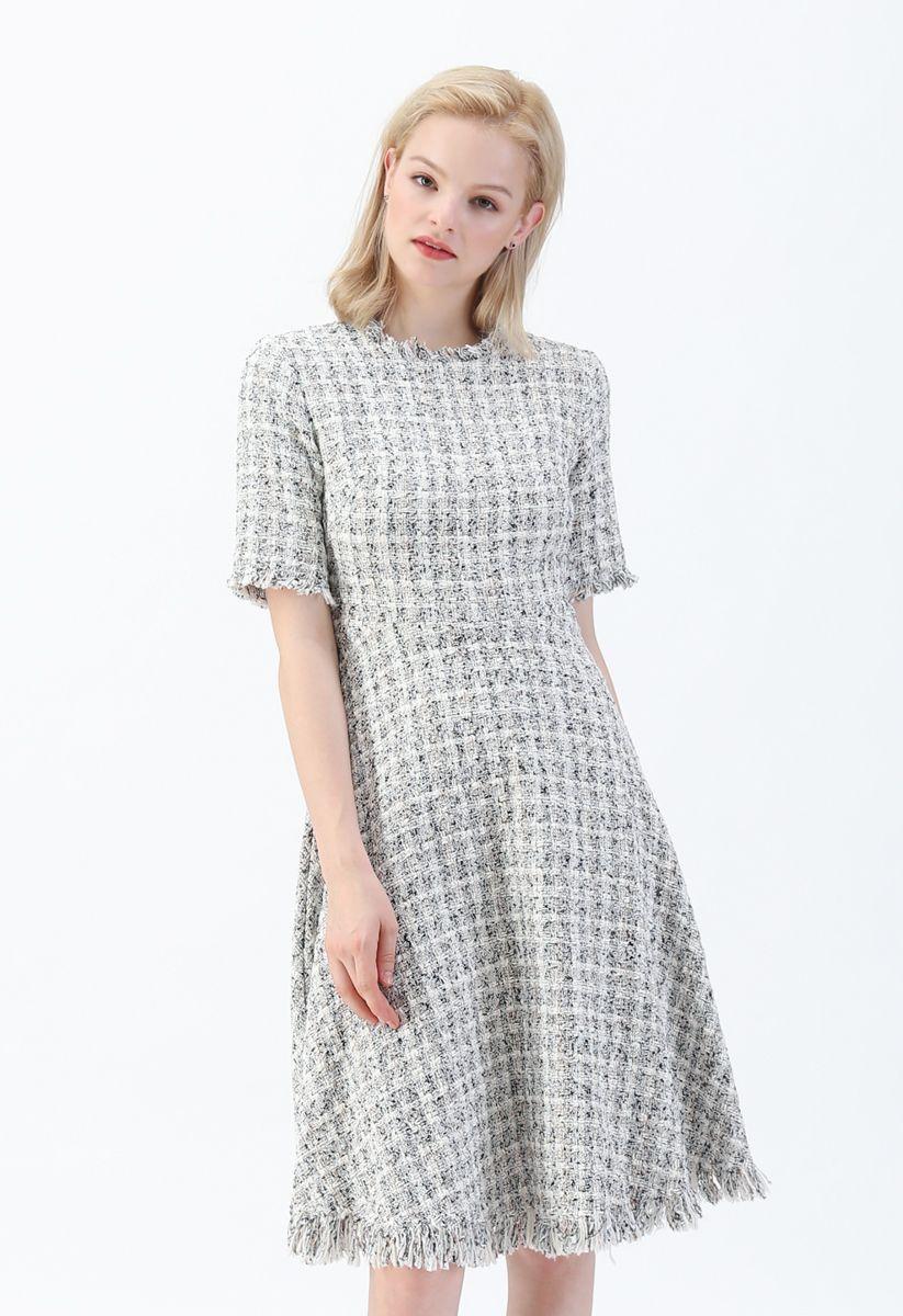 Raw Edges Textured Tweed Midi Dress