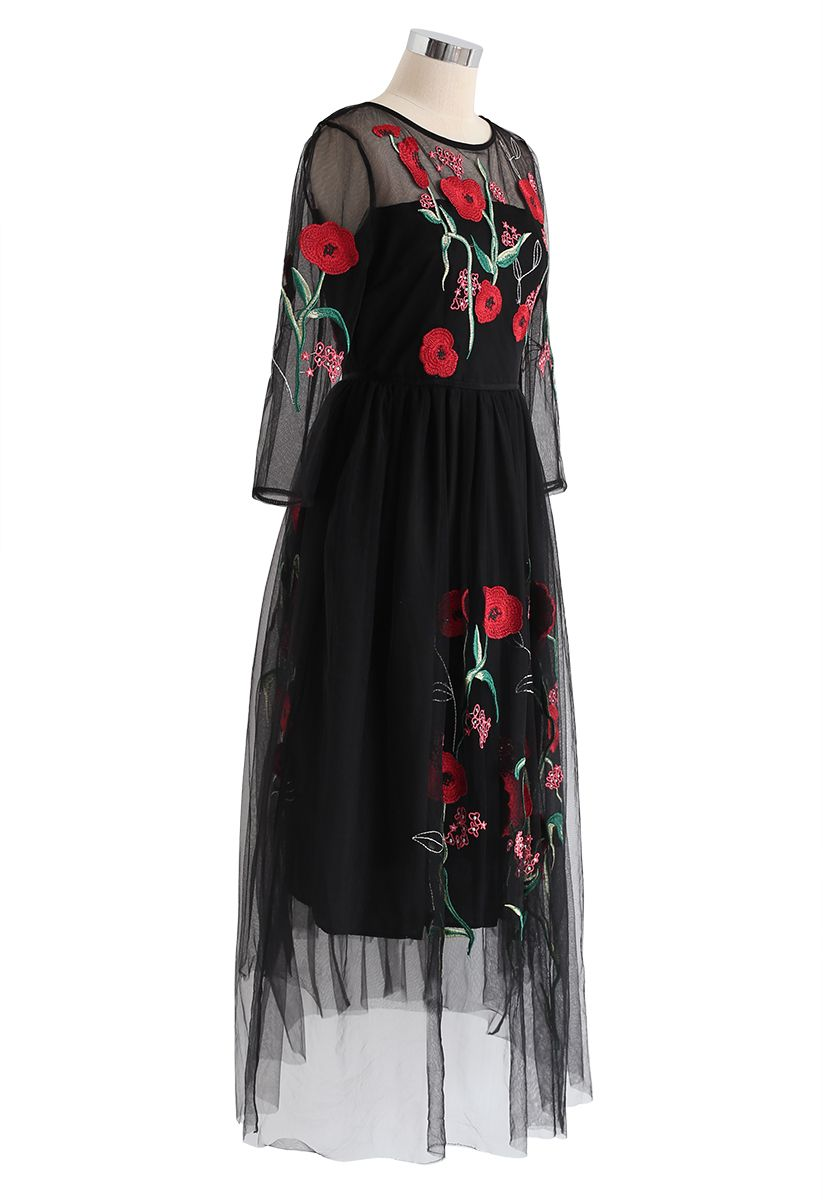 Floral Embroidered Double-Layered Mesh Dress in Black
