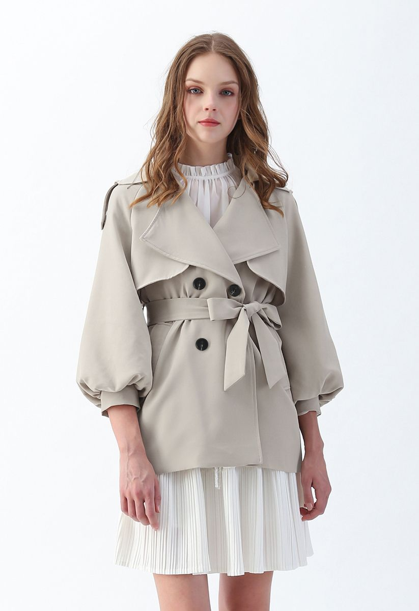 Puff Sleeves Double-Breasted Belted Jacket