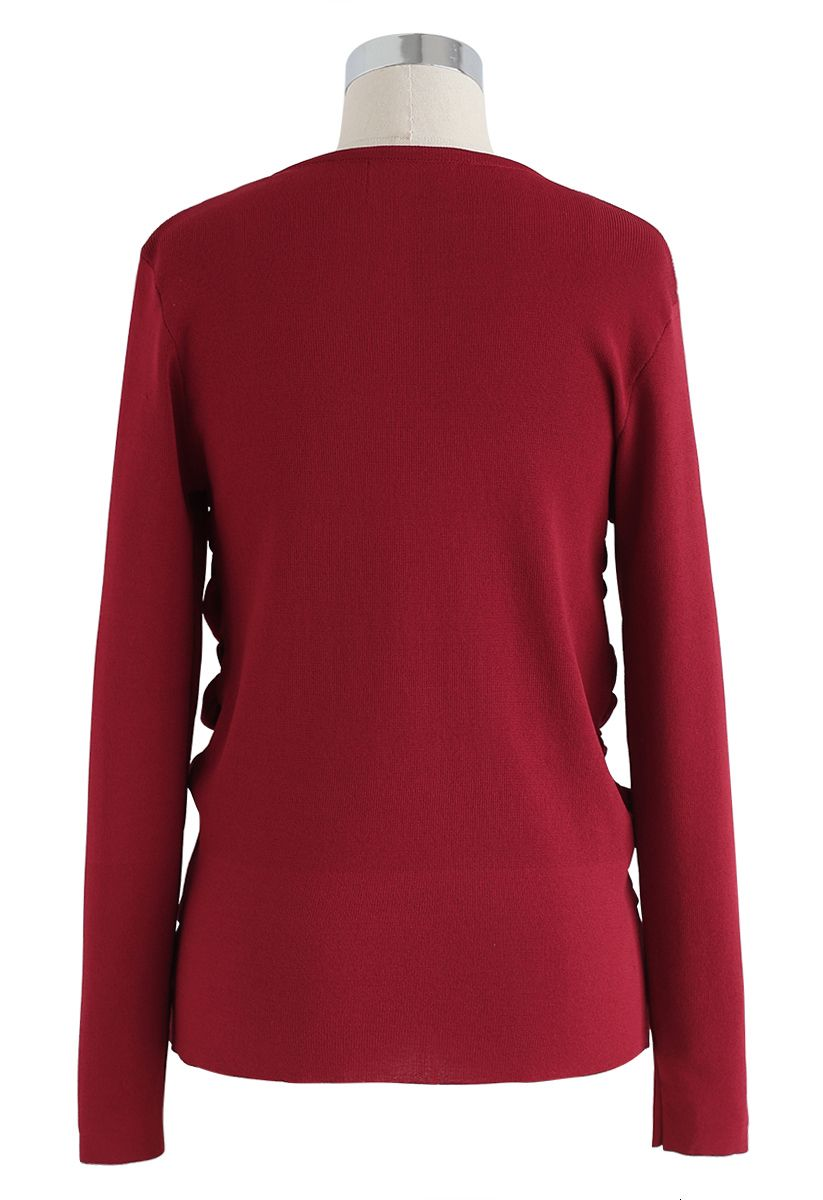 Faux Pearl Trim Ruched V-Neck Knit Top in Red