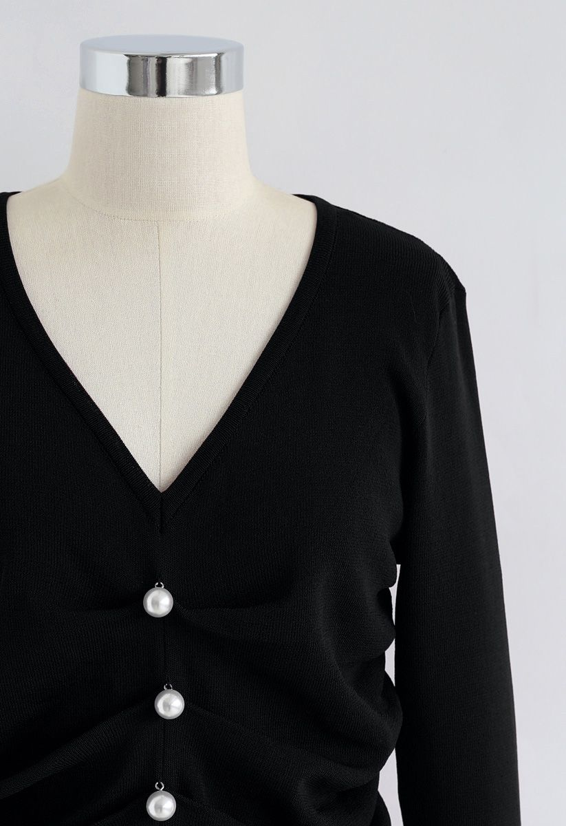 Faux Pearl Trim Ruched V-Neck Knit Top in Black