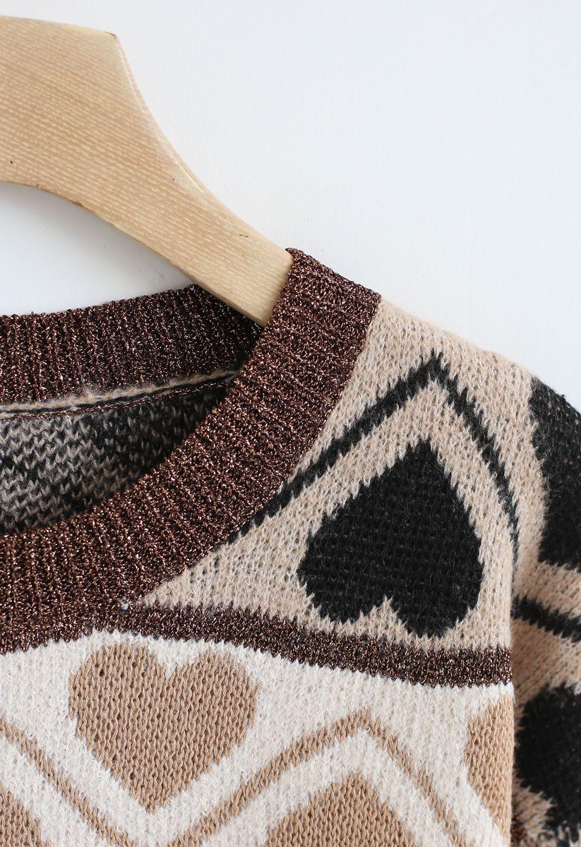 Heart Print Fluffy Soft Knit Sweater