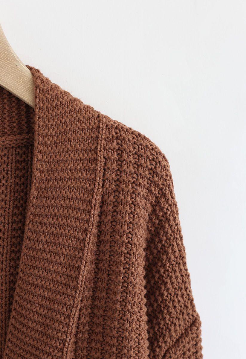 Bubble-Sleeve Pockets Cardigan with Pom-Pom Detail in Caramel