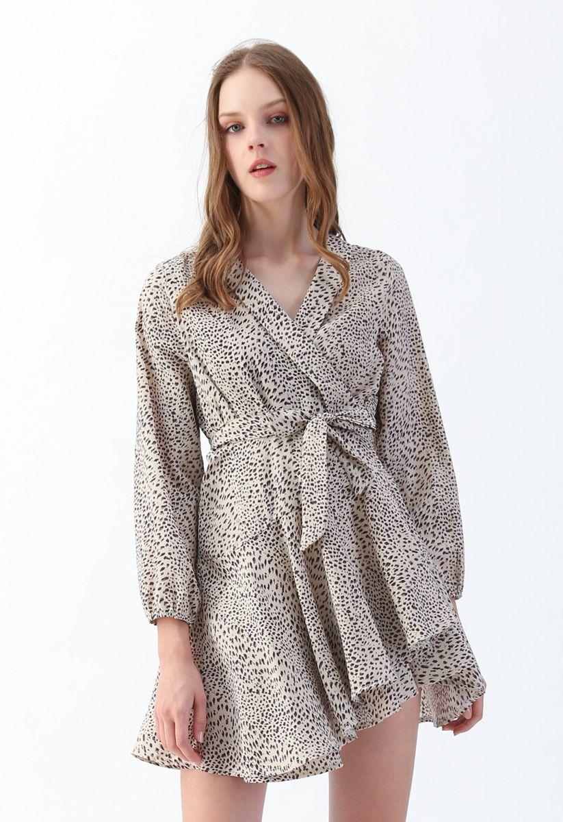 Leopard Dots Ruffle Wrap Dress in Ivory