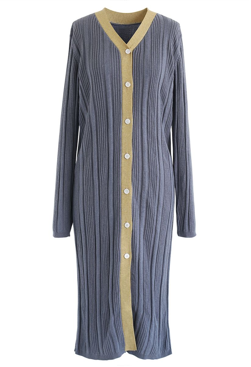 Button Front Longline Knit Cardigan in Dusty Blue
