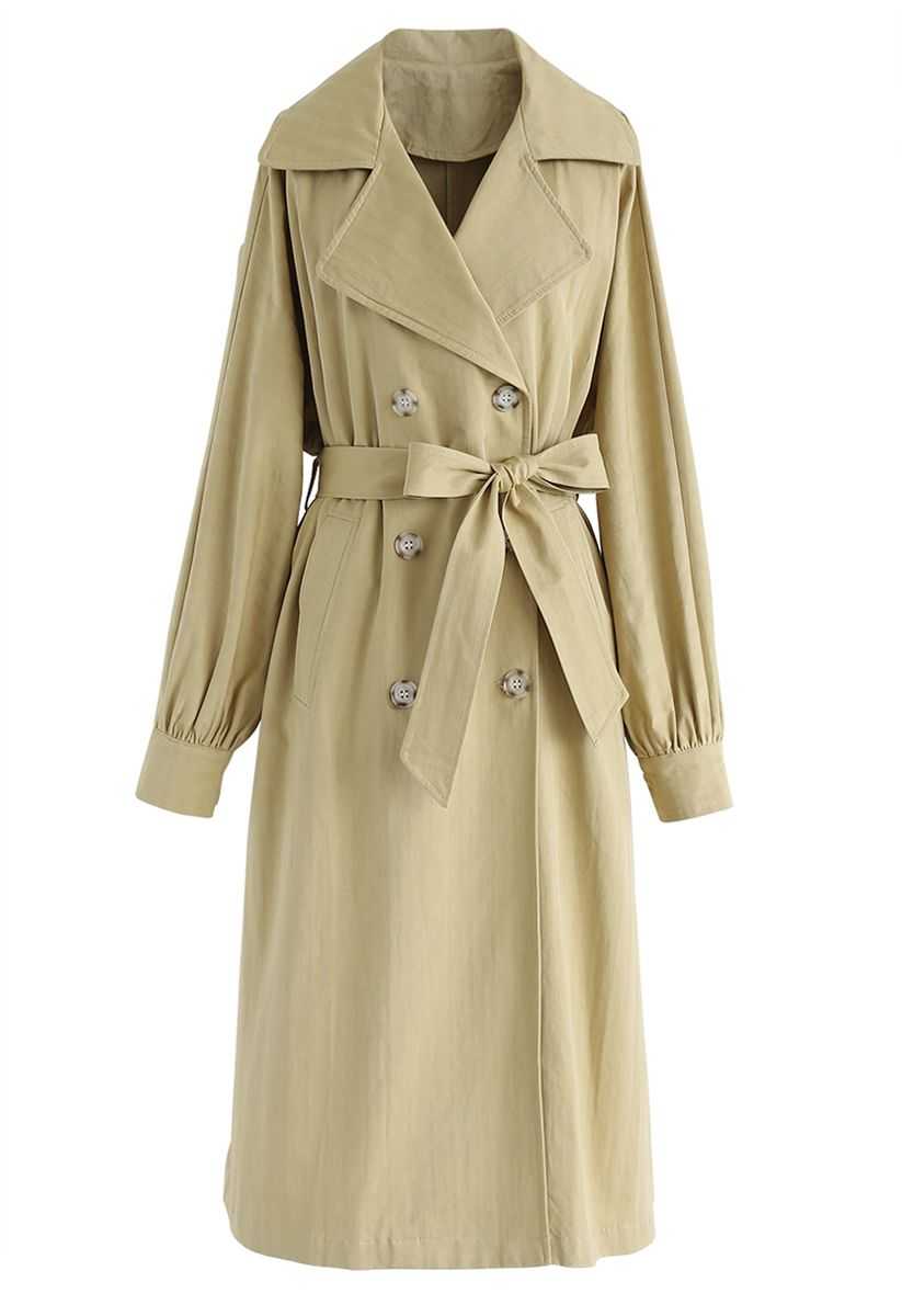 Belted Double-Breasted Longline Coat in Mustard