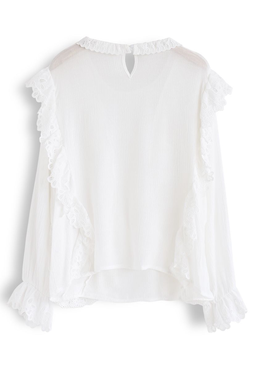 Embroidered Ruffle Trim Semi-Sheer Top