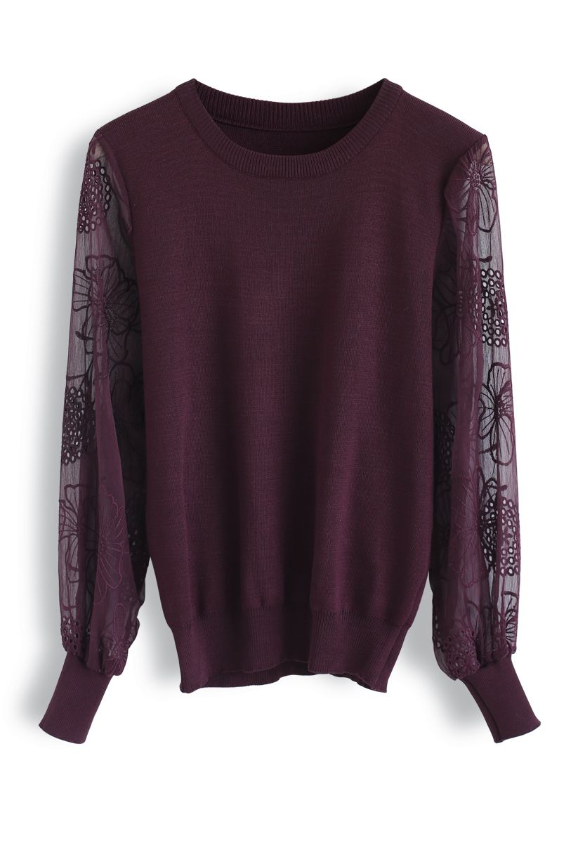 Floral Embroidered Sheer Sleeves Knit Sweater in Wine