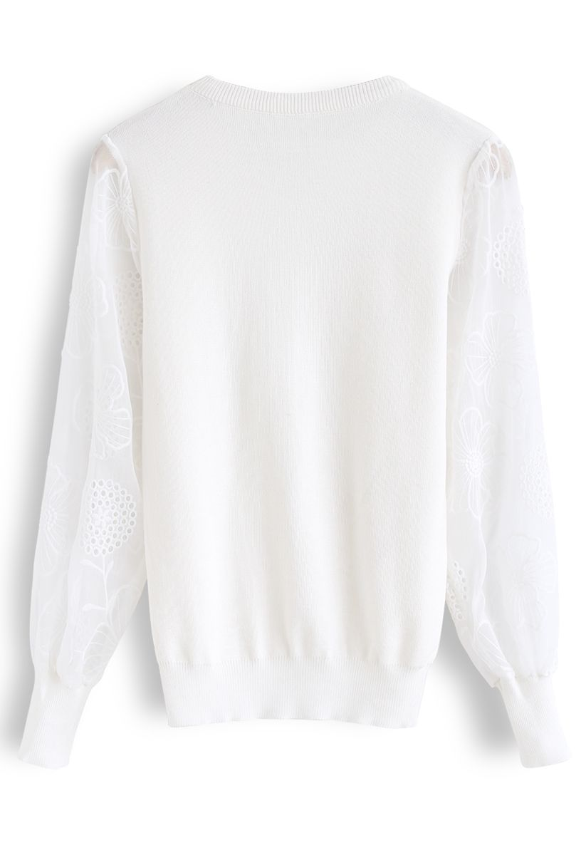 Floral Embroidered Sheer Sleeves Knit Sweater in White