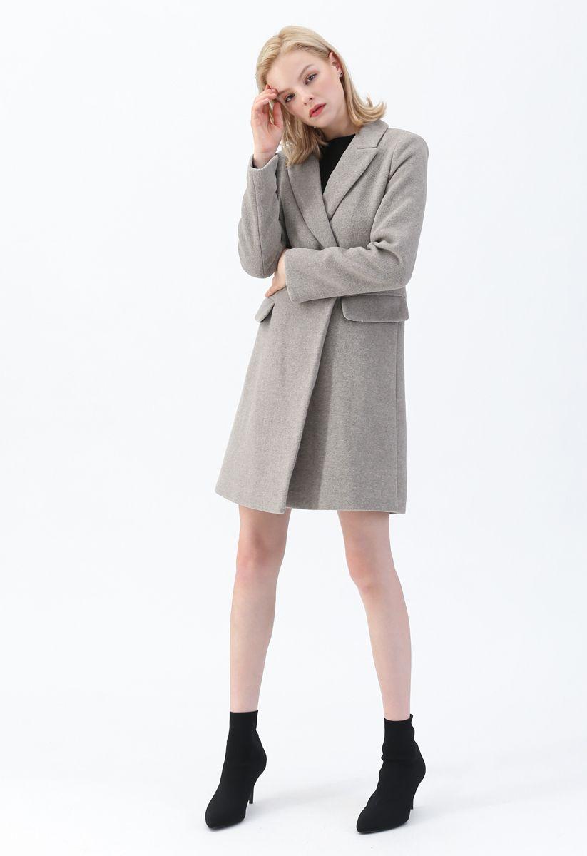 Front Pockets Wool-Blended Longline Blazer