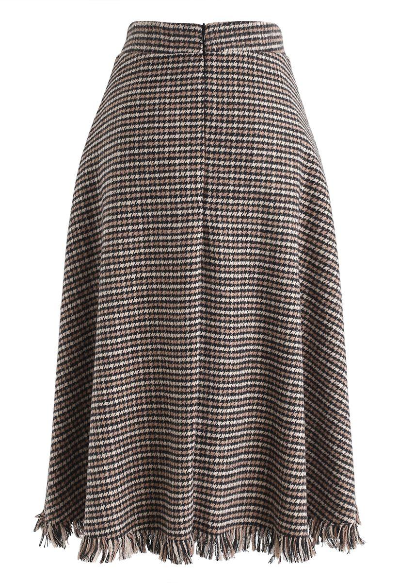 Houndstooth Tassel Hem A-Line Midi Skirt