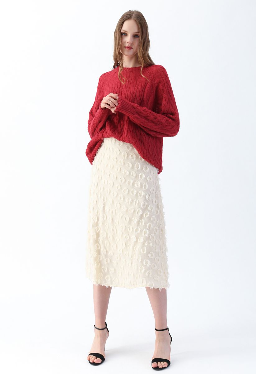Tassel Trim Midi Skirt in Cream