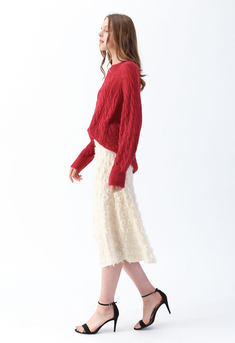 Tassel Trim Midi Skirt in Cream