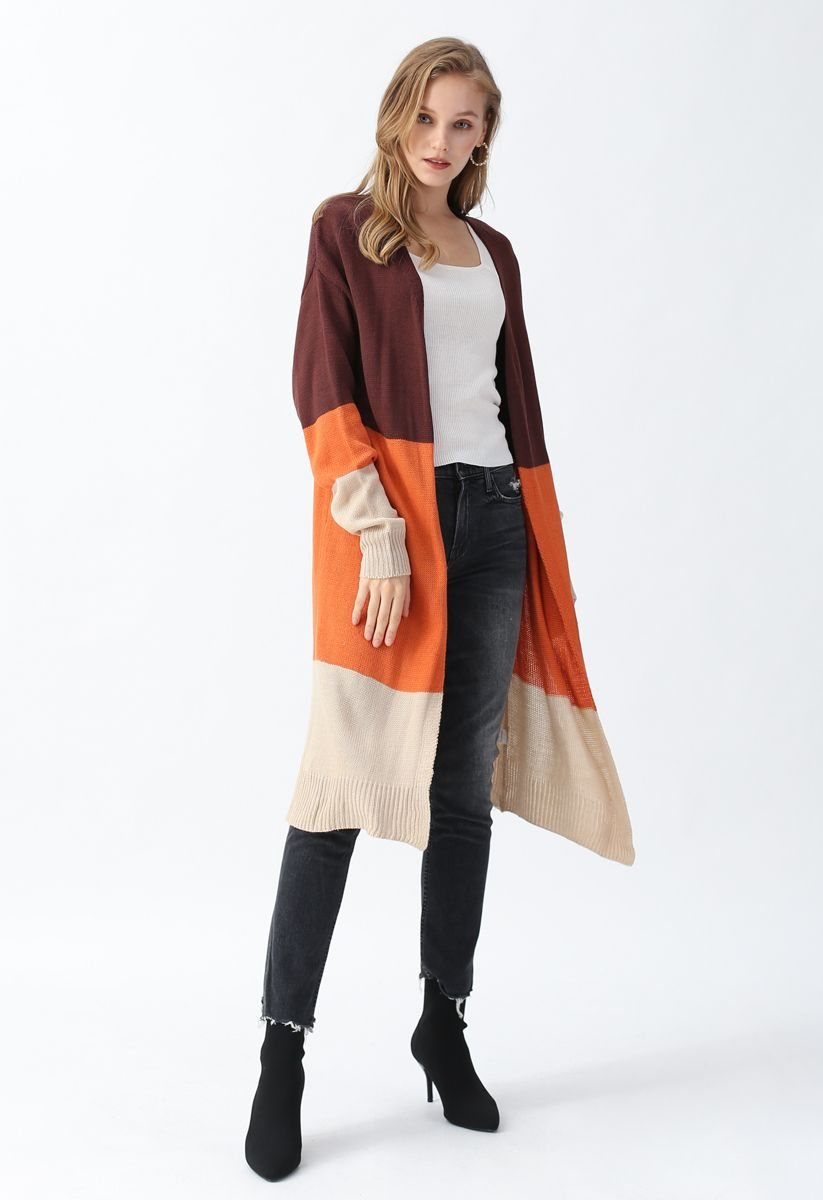 Color Blocked Longline Knit Cardigan in Brown