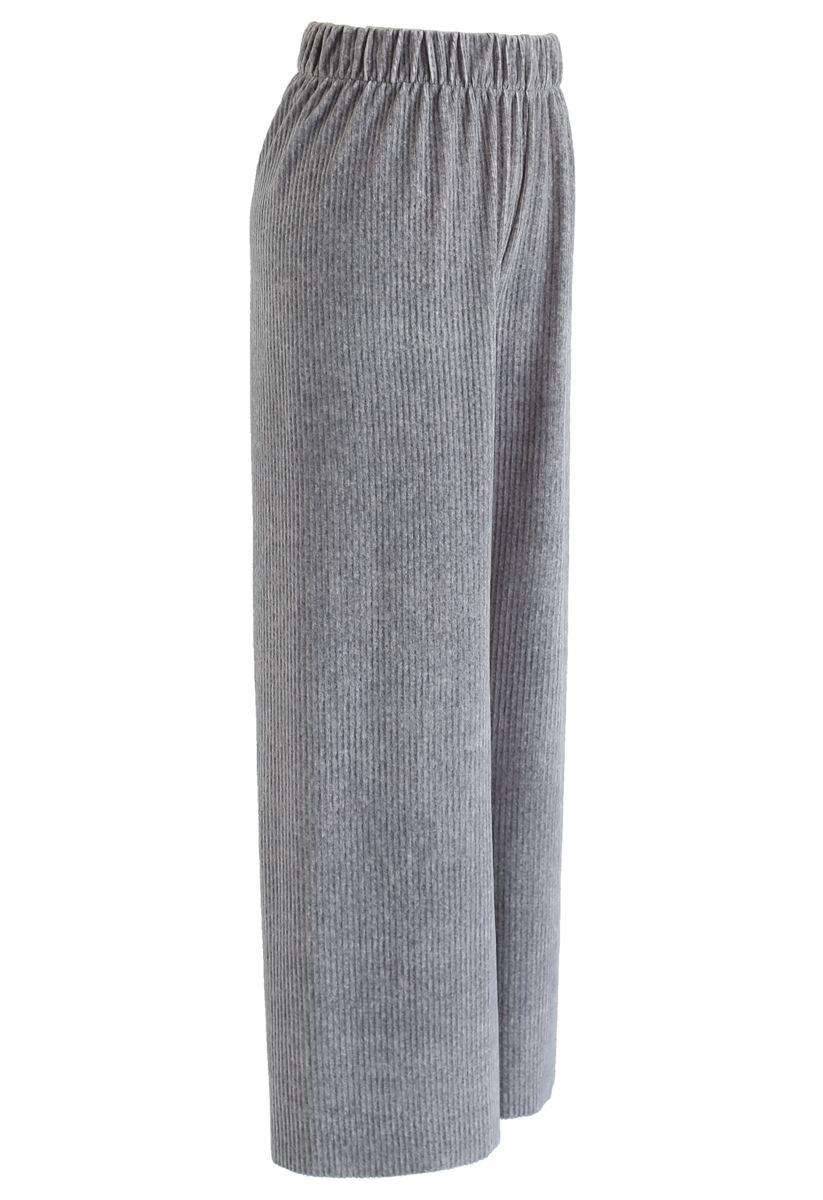 Corduroy Wide-Leg Pants in Grey