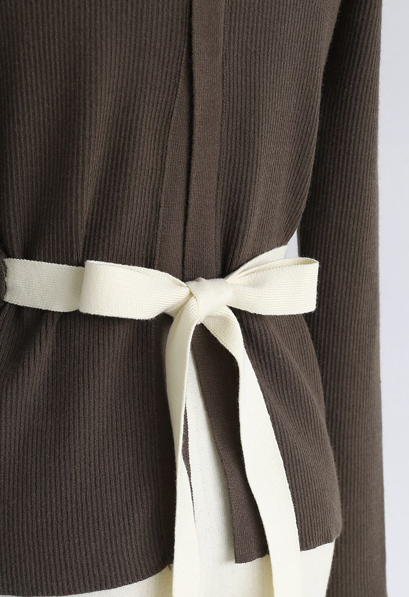 Split Back Self-Tied Bowknot Knit Top in Olive