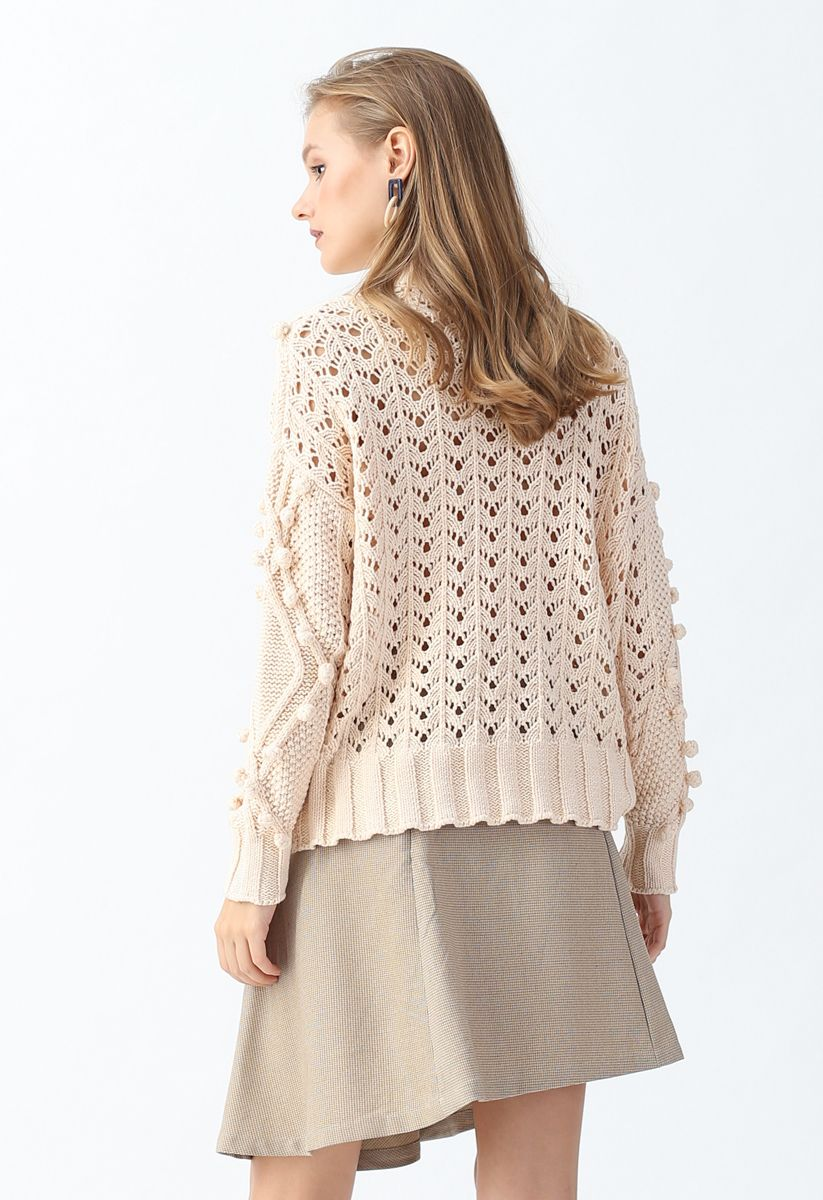 Hollow Out Pom-Pom Cable Knit Sweater in Cream