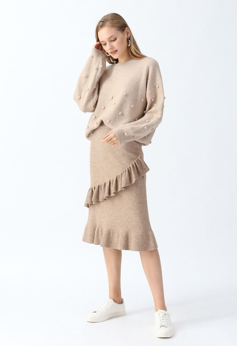 Pom-Pom Trim Fluffy Knit Sweater in Tan