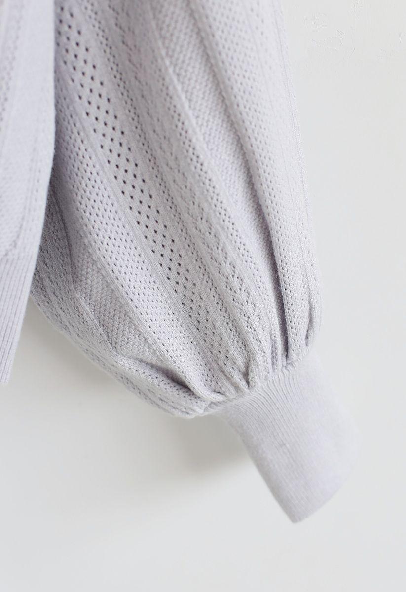Eyelet Trim Frilling Neck Knit Sweater in Light Grey