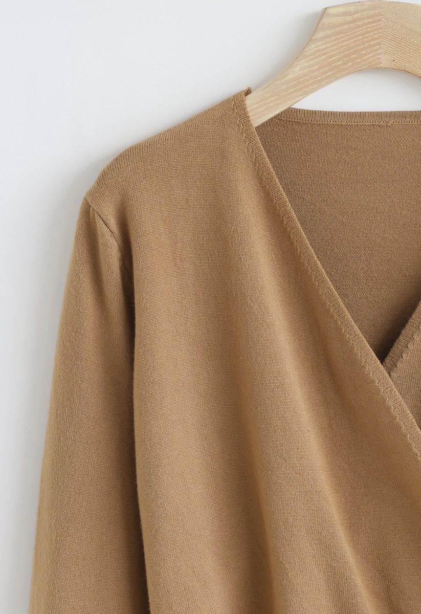 Basic Soft Wrapped Knit Top in Tan